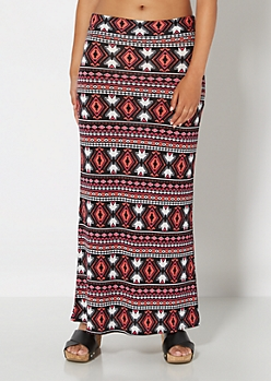 Coral Aztec Knit Maxi Skirt