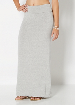 Heather Grey Classic Knit Maxi Skirt
