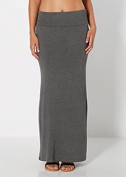 Charcoal Grey Classic Knit Maxi Skirt