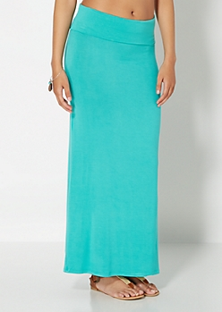 Light Green Classic Knit Maxi Skirt
