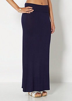Navy Classic Knit Maxi Skirt
