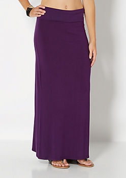 Dark Purple Classic Knit Maxi Skirt