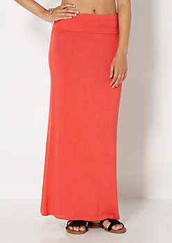 Coral Classic Knit Maxi Skirt