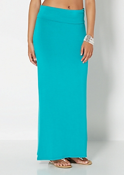 Teal Classic Knit Maxi Skirt