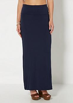 Navy Classic Fold-Over Maxi Skirt