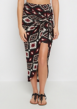 Burgundy Knotted Aztec Tulip Skirt
