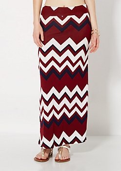 Burgundy Fold-Over Maxi Skirt