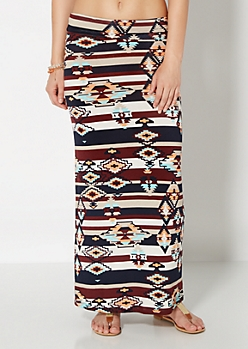 Aztec Desert Striped Maxi Skirt