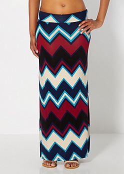 Navy Wide Chevron Maxi Skirt
