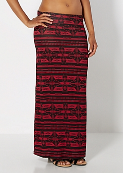 Burgundy Aztec Striped Maxi Skirt