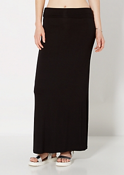 Black Knit Fold-Over Maxi Skirt