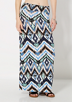 Tribal Streak Fold-Over Maxi Skirt