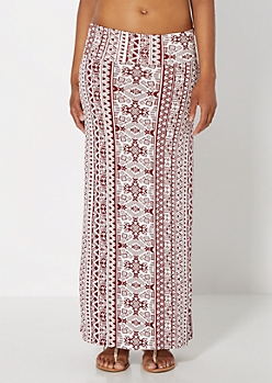 Burgundy Tribal Striped Maxi Skirt