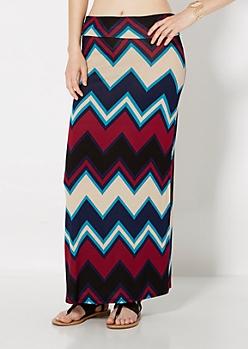 Pixelated Chevron Fold-Over Maxi Skirt