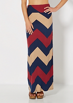 Wide Chevron Brushed Maxi Skirt