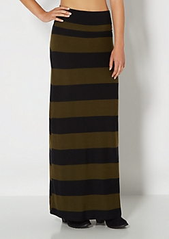 Green Wide Striped Brushed Maxi Skirt