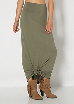 Weekend Olive Green Knit Maxi Skirt