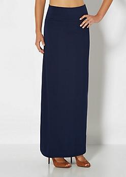 Weekend Navy Knit Maxi Skirt