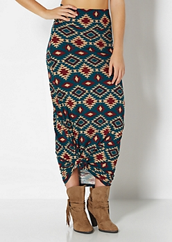 Brushed Western Maxi Skirt