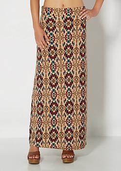 Western Tribal Brushed Maxi Skirt