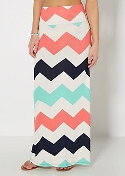 Coral Pop Chevron Fold-Over Maxi Skirt