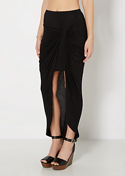 Black Twisted Knot Midi Skirt