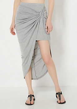 Gray Twisted Knot Midi Skirt