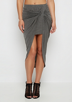 Charcoal Twisted Knot Midi Skirt