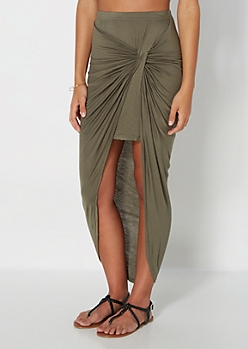 Olive Twisted Knot Midi Skirt