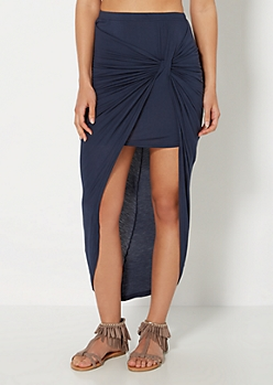 Navy Twisted Knot Midi Skirt