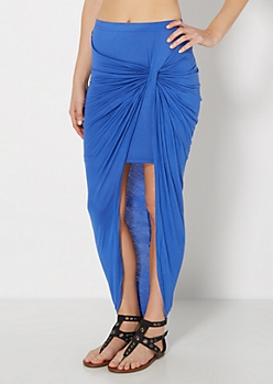 Royal Blue Twisted Knot Midi Skirt