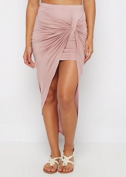 Mauve Twisted Knot Midi Skirt
