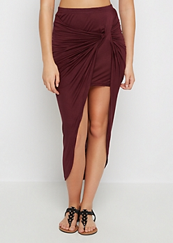 Dark Purple Twisted Knot Midi Skirt