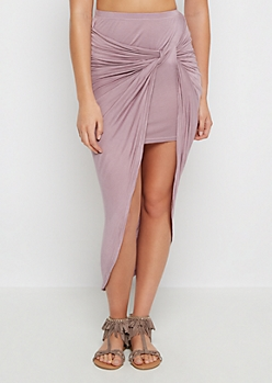 Lavender Twisted Knot Midi Skirt