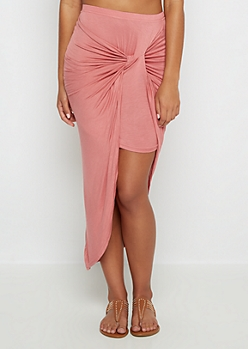 Pink Twisted Knot Midi Skirt
