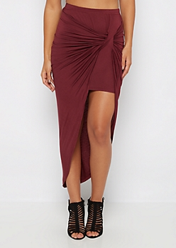 Burgundy Twisted Knot Midi Skirt