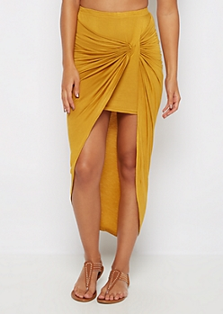 Mustard Twisted Knot Midi Skirt