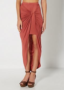 Burnt Orange Twisted Knot Midi Skirt