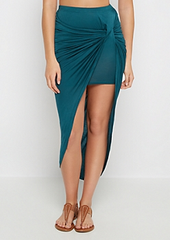 Teal Twisted Knot Midi Skirt