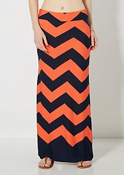 Coral & Navy Chevron Maxi Skirt