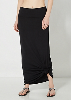 Black Jersey Knit Maxi Skirt