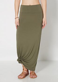 Olive Green Jersey Knit Maxi Skirt