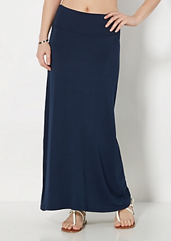 Navy Jersey Knit Maxi Skirt