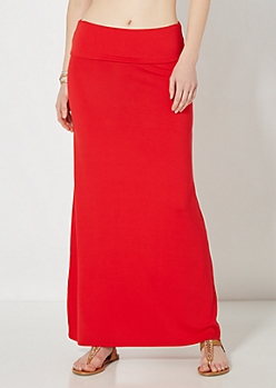 Red Jersey Knit Maxi Skirt