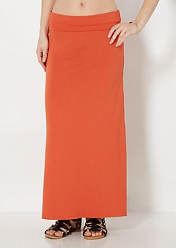 Burnt Orange Jersey Knit Maxi Skirt