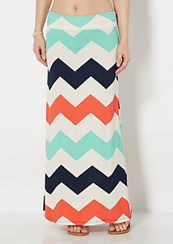 Chevron Jersey Knit Maxi Skirt