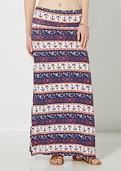 Boho Anchor Maxi Skirt