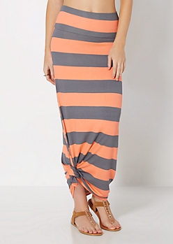 Peach & Gray Striped Maxi Skirt