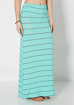 Mint Slim Striped Fold-Over Maxi Skirt