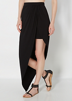Black Tulip Wrap Jersey Skirt